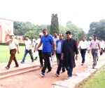 Prahalad Singh Patel leads a walk at at Humayun Tomb as part of Fit India Movement