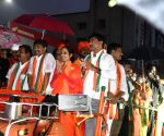 JP Nadda holds roadshow to campaign for GHMC elections in LB Nagar Assembly Constituency