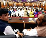 Nityanand Rai, Hansraj Gangaram Ahir during BJP meeting