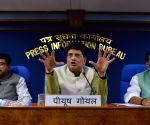 Dharmendra Pradhan, Piyush Goyal and Radha Mohan Singh during press conference