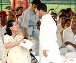 UPA Chairperson Sonia Gandhi with her son Rahul Gandhi after paying tributes to  former Prime Minister Rajiv Gandhi on his death anniversary at Vir Bhumi, in New Delhi on Thursday.