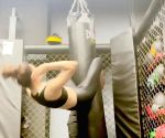 Urvashi shares video of ab workout using punching bag