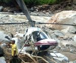 Chopper with relief material makes emergency landing