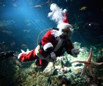 Vancouver (Canada): Santa Claus swims in the Strait of Georgia tank to entertainment the visitors