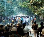 Students clash with police during a protest