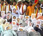 Veera Kannadigara Sene demonstration against Mahadayi water project