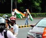 Vendors selling tricolors ahead of Independence Day