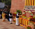 Venkaiah Naidu Narendra Modi pay tribute at the anniversary of 2001 Parliament Attack