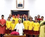 Venkaiah Naidu meets students who represented India at the Brave Kids International Festival