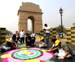 Visually impaired students make rangoli at India Gate during Diwali celebrations
