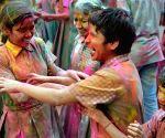 Visually impaired students celebrate Holi