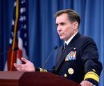 Pentagon Press Secretary John Kirby speaks during a briefing at the Pentagon