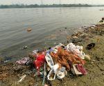 :New Delhi:Waste material at Yamuna river bank after end of Navaratri festival at Yamuna ghat ITO