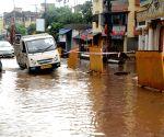 Waterlogged road at Behala area during rain in Kolkata  in Kolkata.