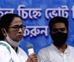 West Bengal Chief Minister and TMC candidate of Bhawanipur constituency by-poll Mamata Banerjee during election campaign in Kolkata.