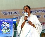 Mamata Banerjee at a public rally