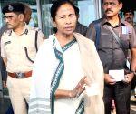 Mamata Banerjee at Kolkata Airport