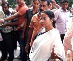 West Bengal CM Mamata Banerjee  at a bank branch