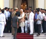 Keshari Nath Tripathi arrives at Raj Bhawan