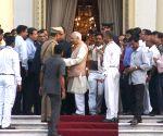 Keshari Nath Tripathi arrives at Raj Bhawan
