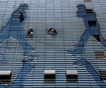Workers cleaning a building