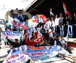 Bihar strike - 'grand alliance' parties stage rail blockade