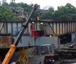Kolkata : Workers were busy demolishing the incomplete Vivekananda flyover which collapsed on March 31, 2016 in Kolkata on June 16, 2021.
