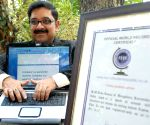 H M Arun Kumar demonstrates his typing skills