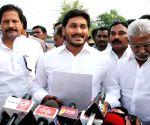 YS Jaganmohan Reddy talks to press