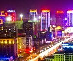 Night scenery of CBD of Jinfeng District