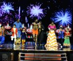 : Mumbai: Baba Ramdev demonstrates Yoga on the sets of reality show Super Dancer