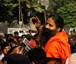 Ramdev talks to press
