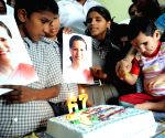 Youth Congress activists celebrate 67th birthday of UPA Chairperson Sonia Gandhi Source : IANS