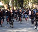 Youth participate in a cycle rally for a safe environment in Patna on Sunday 28th February,2021
