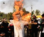 Youth Rashtriya Janta Dal workers burn effigy Bihar Chief Minister Nitish Kumar
