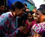 Tadepalle (Andhra Pradesh): YS Sharmila during a public meeting