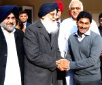 YS Jaganmohan Reddy meets Punjab Chief Minister Parkash Singh Badal at his residence