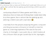 Zerodha's Nitin Kamath apologies for cheating Anand in chess