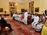 A delegation from Chhindwara of Madhya Pradesh led by Kamal Nath calls on President Pranab Mukherjee at Rashtrapati Bhawan on April 4, 2017.