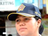 A Mumbai Traffic police woman can be seen wearing a newly design cap for Mumbai police in Mumbai on Sept 25, 2017.