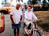 A photo re-tweeted by Riteish Deshmukh through his official twitter account where  former Congress President Sonia Gandhi is seen cycling in a resort.