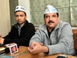 Aam Aadmi Party leader Sanjay Singh during a press conference at the party office in Lucknow on Dec 2, 2017.