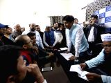 AAP leader Kumar Vishwas interacts with party workers during a programme in New Delhi on Dec 3, 2017.