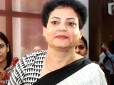 Acting chairperson of NCW Rekha Sharma arrives at Banaras Hindu University campus in Varanasi on Oct 5, 2017. She went to the LD guest house, interacted with girls and held a hearing on ...