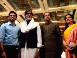 Actor Amitabh Bachchan with Shiv Sena chief Uddhav Thackeray and his son Aditya Thackeray during the launch function of