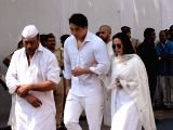 Actor Jackie Shroff along with wife Ayesha Shroff and Danny Denzongpa's son Rinzing Denzongpa at the funeral of late actress Sridevi in Mumbai on Feb 28, 2018. Veteran actress Sridevi passed ...