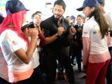 Actor Shreyas Talpade with children during a programme organised to announce Flight of Fantasy by Jet Airways ahead of Childrens Day at Chhatrapati Shivaji International Airport in Mumbai ...