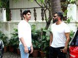 Actor Suniel Shetty and his son Aahan Shetty at film producer Sajid Nadiadwalas residence in Mumbai.