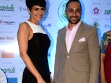 Actors Mandira Bedi and Rahul Bose during a programme organised to announce the Vasai-Virar Mayors Marathon at Indiabulls Finance Center in Mumbai on Oct 4. 2017.
