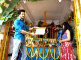 Naga Chaitanya, Shruti Hassan during muhurat of an upcoming film